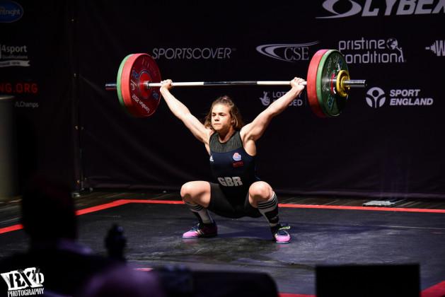 Rebekah Tiler at the 2015 British Weightlifting Championships