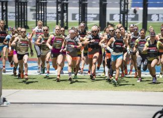 Women during Murph at 2015 CrossFit Games