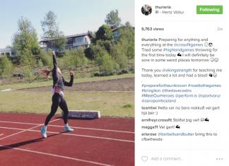 Thuridur Helgadottir's Instagram post trying out the hammer throw.