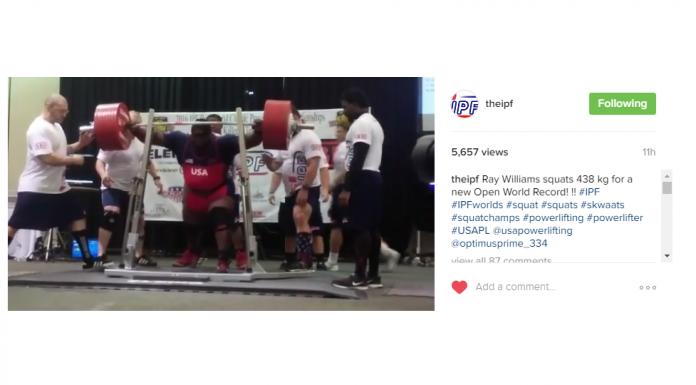 Ray Williams sets Raw Squat World Record