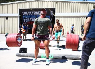 Sam Dancer during the Ranch Deadlift Ladder at the 2016 Reebok CrossFit Games