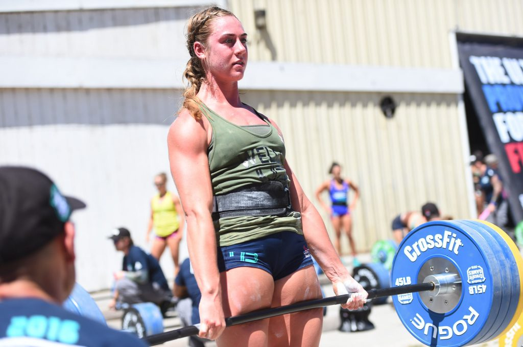 Brooke Wells completing the Ranch Deadlift Ladder in Aromas, California at the 2016 CrossFit Games