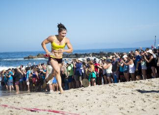 Tia-Clair Toomey during the Ocean Swim at the 2016 Reebok CrossFit Games