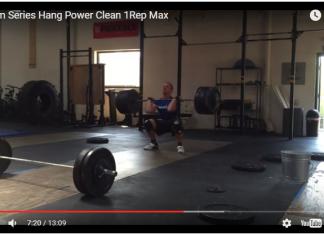 Screen cap of Panchik's 350-pound hang power clean during CrossFit Team Series