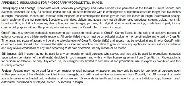 Appendix C of the 2016 CrossFit Games Rulebook