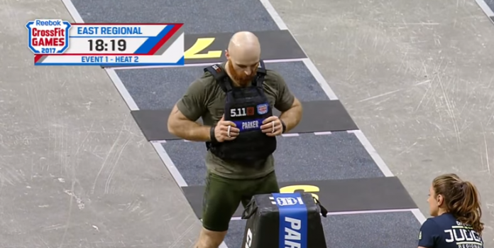 Lucas Parker during Event 1 of the 2017 CrossFit East Regional.