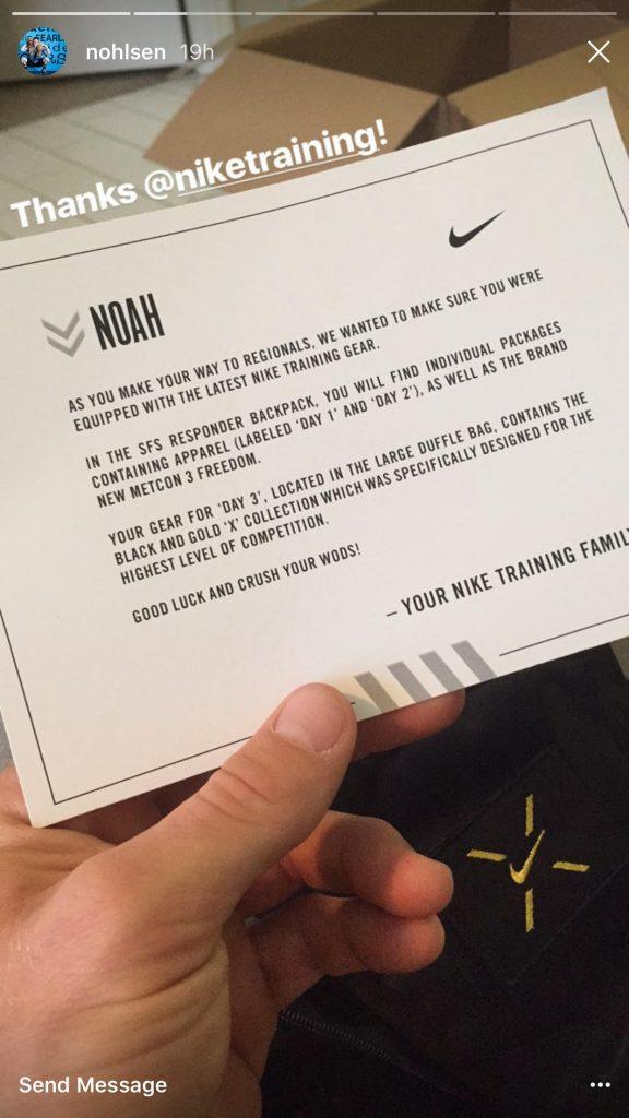Nike letter to Noah Ohlsen for Regionals