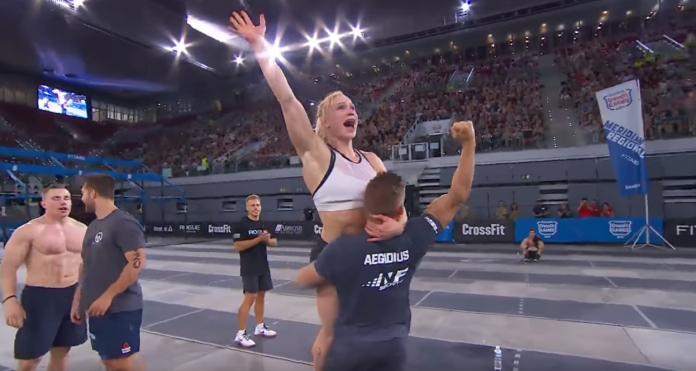 Frederick Aegidius and Annie Thorisdottir celebrate after Aegidius qualifies for 2017 CrossFit Games