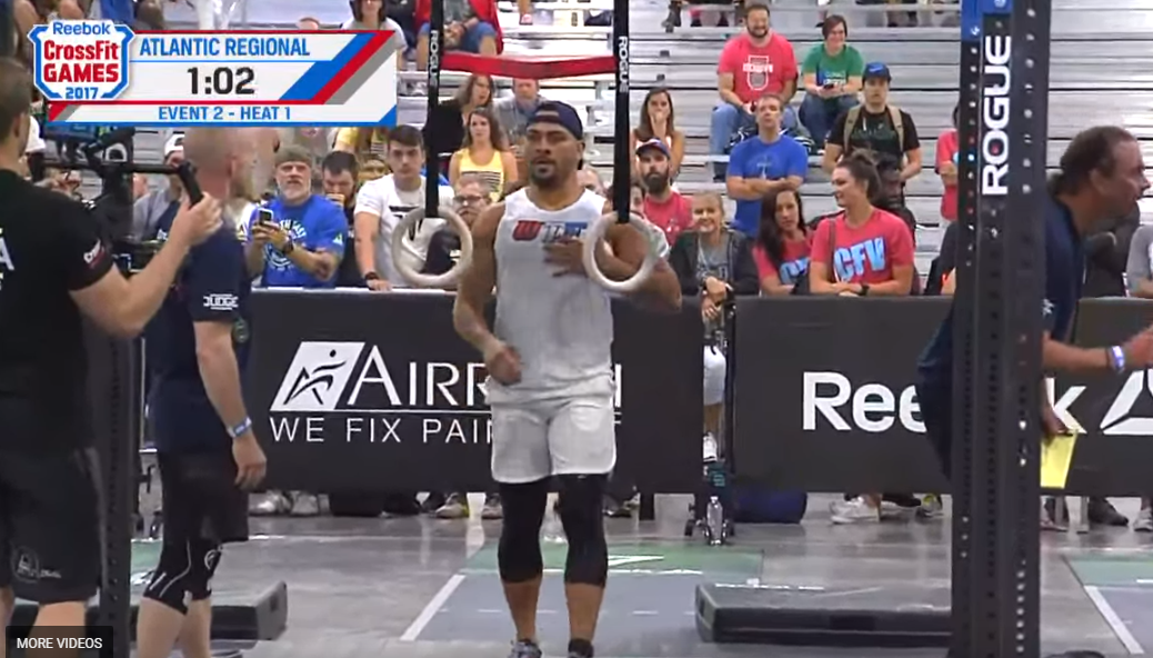 Jeff Evans injures left pec on Event 2 of the CrossFit Atlantic Regional.