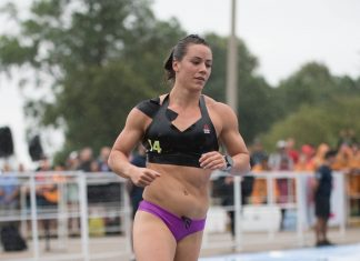 Camille Leblanc-Bazinet during the Run-Swim-Run event at the 2017 CrossFit Games.