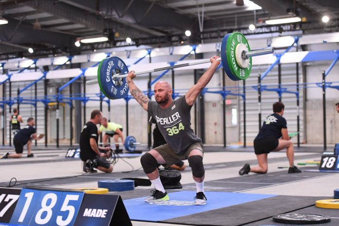 Chris Spealler during the 1RM Snatch Event during the 2017 CrossFit Games. Photo courtesy of CrossFit Inc.