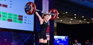 Kate Vibert at the 2017 USAW National Championships. Photo courtesy of Lifting Life.