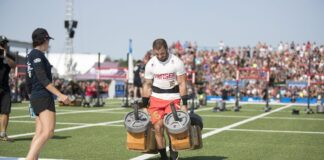 Mat Fraser during Strongman's Fear at the 2017 CrossFit Games. Photo courtesy of CrossFit Inc.