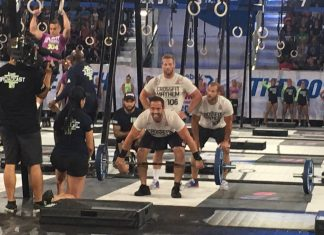 Rich Froning and CrossFit Mayhem during the Mens Muscle-Up Snatch event at the 2017 CrossFit Games