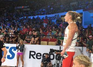Sam Briggs after Amanda .45 at the 2017 CrossFit Games