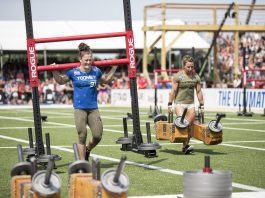 Tia-Clair Toomey ahead of Kara Webb on Strongman's Fear during the 2017 CrossFit Games. Photo courtesy of CrossFit Inc.