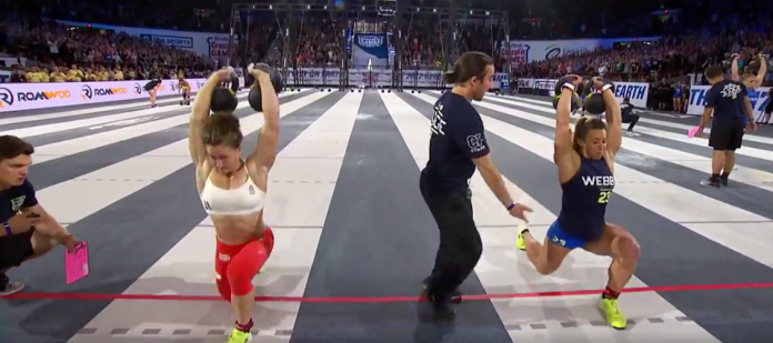 Tia-Clair Toomey and Kara Webb race to the finish line during the Fibonacci Final at the 2017 CrossFit Games.
