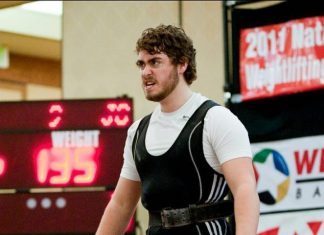 Jordan Cook during a weightlifting meet before he found CrossFit.