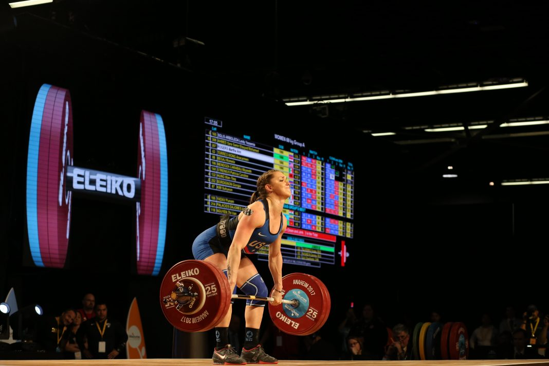 Mattie Rogers at the 2017 IWF World Championships. Photo courtesy of Lifting Life.