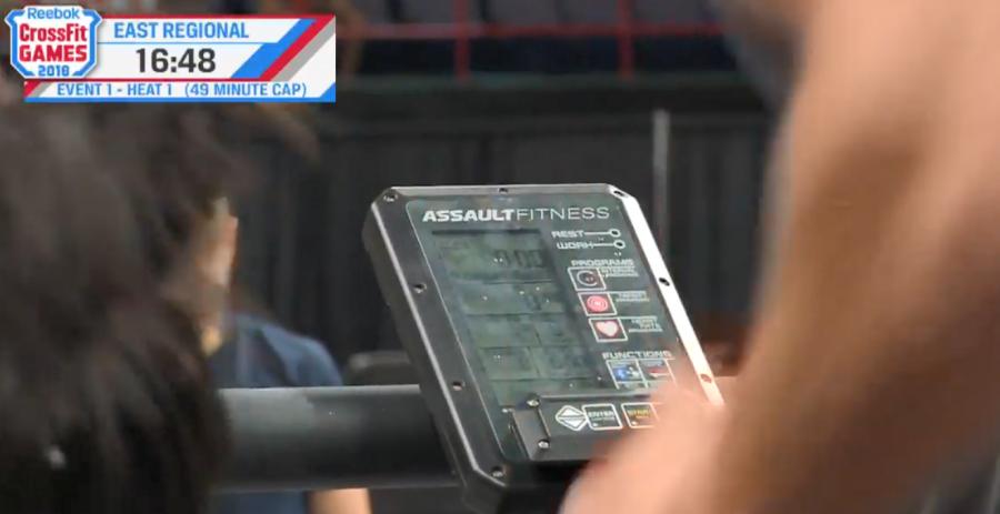 AirRunner monitor showing all zeros as Craig Kenney runs during Triple 3.