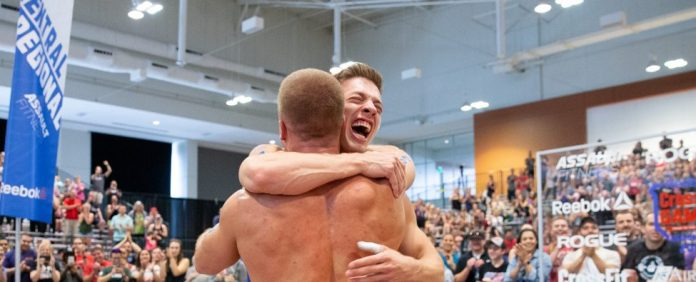 Saxon Panchik and his brother Scott Panchik celebrate after they both qualify for the 2018 CrossFit Games. Photo courtesy of CrossFit Inc.