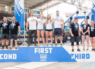 Top five teams stand on the podium at the West Regional. Photo courtesy of CrossFit Inc.