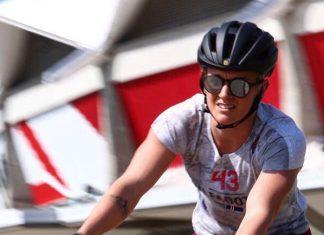 Eik Gylfadóttir testing her Trek bike on Monday before the 2018 CrossFit Games.