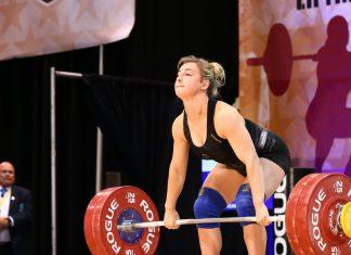 Kate Vibert, 69kg, lifting at the 2018 USAW National Championships. Photo courtesy of Lifting Life.