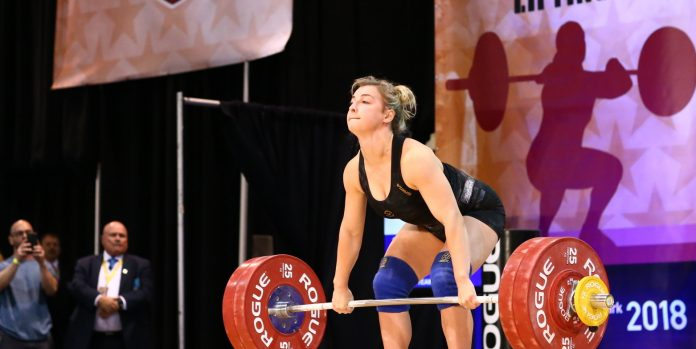 Kate Vibert, 69kg, lifting at the 2018 USAW National Championships. Photo courtesy of Lifting Life.