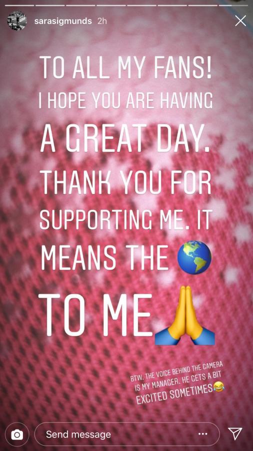 Instagram story from Sara Sigmundsdottir
