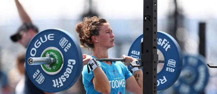 Tia-Clair Toomey puts up an 875-pound total during the CrossFit Total event at the 2018 CrossFit Games. Photo courtesy of CrossFit inc.