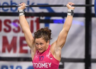 Tia Clair-Toomey during the Speed Clean and Jerk Ladder at the 2018 CrossFit Games. Photo courtesy of CrossFit Inc.