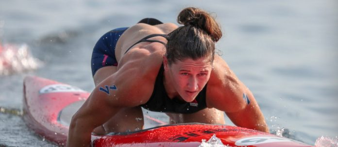 Tia-Clair Toomey on a paddleboard during the Madison Triplus at the 2018 CrossFit Games. Photo courtesy of CrossFit Inc.