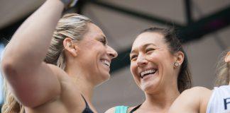 Cassidy Lance-McWherter and Jen Smith team up at the 2018 Wodapalooza Fitness Festival.