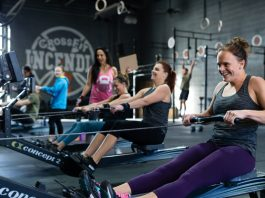 Athletes on the Concept 2 rower during the CrossFit Open. Photo courtesy of CrossFit Inc.