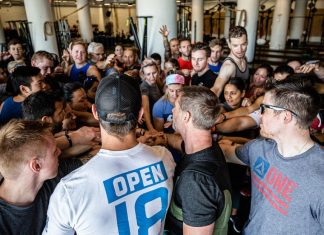 Chris Irwin with Reebok Employees before Memorial Day Murph