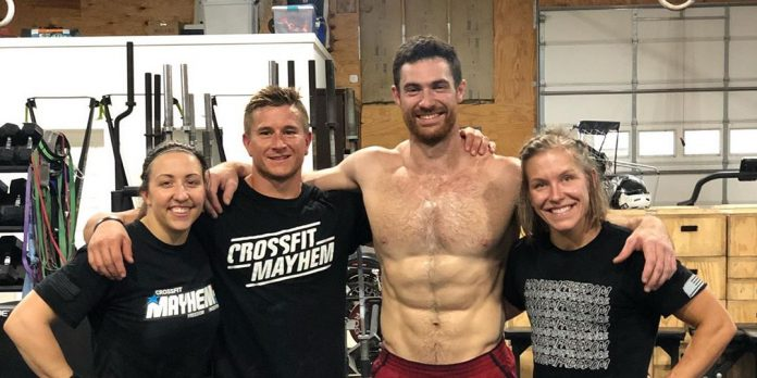 CrossFit Mayhem Freedom preparing for the CrossFit French Throwdown. Left to right: Carolyne Prevost, Chase Hill, Royce Dunne and Kristin Miller.