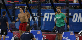 Noah Ohlsen (left) and Mat Fraser (right) at the 2019 CrossFit Games