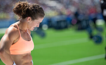 Tia-Clair Toomey at the 2019 CrossFit Games.